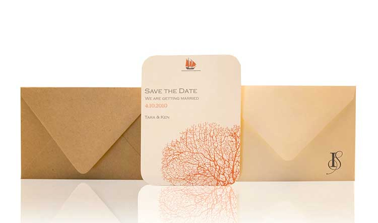Coral Save the Date Invitation