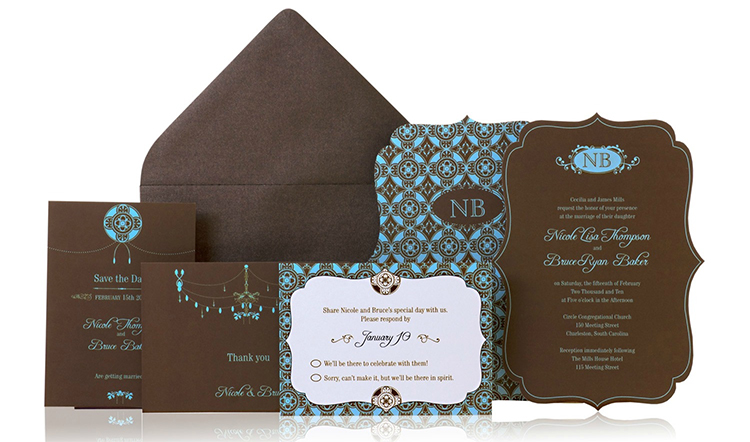 Exotic Lines Ready to Order Luxury Wedding Invitation
