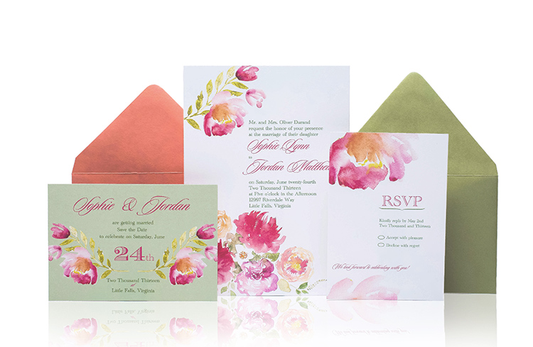 Watercolor Ready to Order Luxury Wedding Invitation