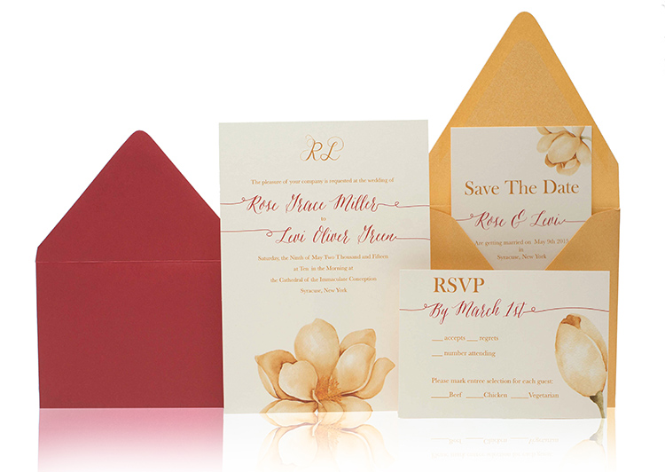 Yellow Flower Ready to Order Luxury Wedding Invitation